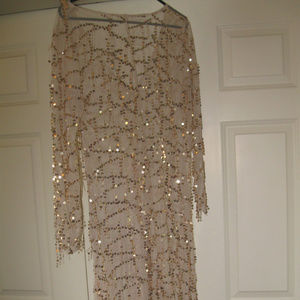 EVENING SHEER LONGSLEEVE GOLD SPARKLE MAXI DRESS M